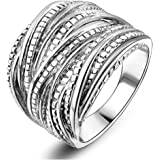 Mytys Silver Intertwined Statement Ring for Women 18mm Wide Size 6/7/8/9/10