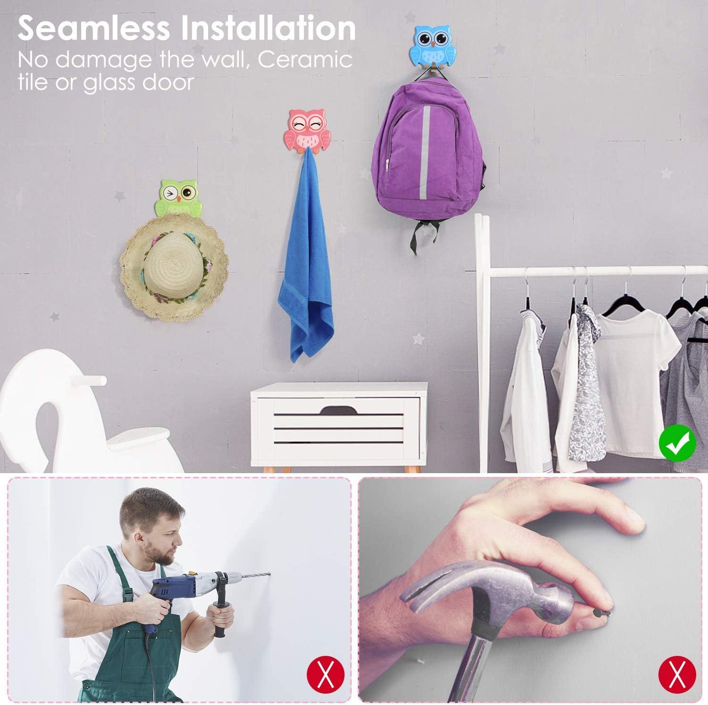 bagno asciugamani senza fori adatto per cucina soggiorno 3M Ganci autoadesivi a forma di gufo per appendere accappatti in acciaio INOX vestiti e articoli da toeletta