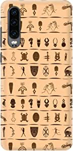 Stylizedd Huawei P30, Slim Snap Basic Case Cover Matte Finish - Tribal Hieroglyphics
