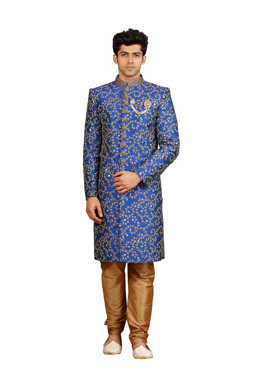 Fashions Trendz Mens Indo Western Wedding Blue Designer Partywear Traditional R-25412