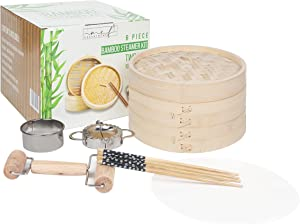 NCF Department 10 Inch Bamboo Steamer Basket - 2 Tier Food, Vegetable & Dumpling Steamer with Lid contains 2 Pair of Chopsticks, Dumpling Mould, Dough Cutting Ring, Rolling Pin & 50 Wax Paper Liners