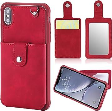 Nuevo Funda para iPhone XR, con Soporte Extraíble, Estuche para Tarjetero Movil, Funda para Teléfono móvil de Cuero PU, Carcasa para Teléfono móvil con Espejo de Maquillaje Creativo Apple XR,Rojo: Amazon.es: Electrónica