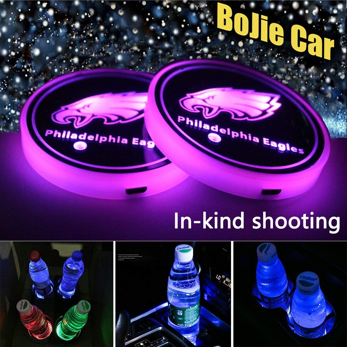 LED Interior Atmosphere Lamp Decoration Light. AMG 7 Colors Changing USB Charging Mat Luminescent Cup Pad 2pcs LED Car Logo Cup Holder Lights for Mercedes-Benz AMG