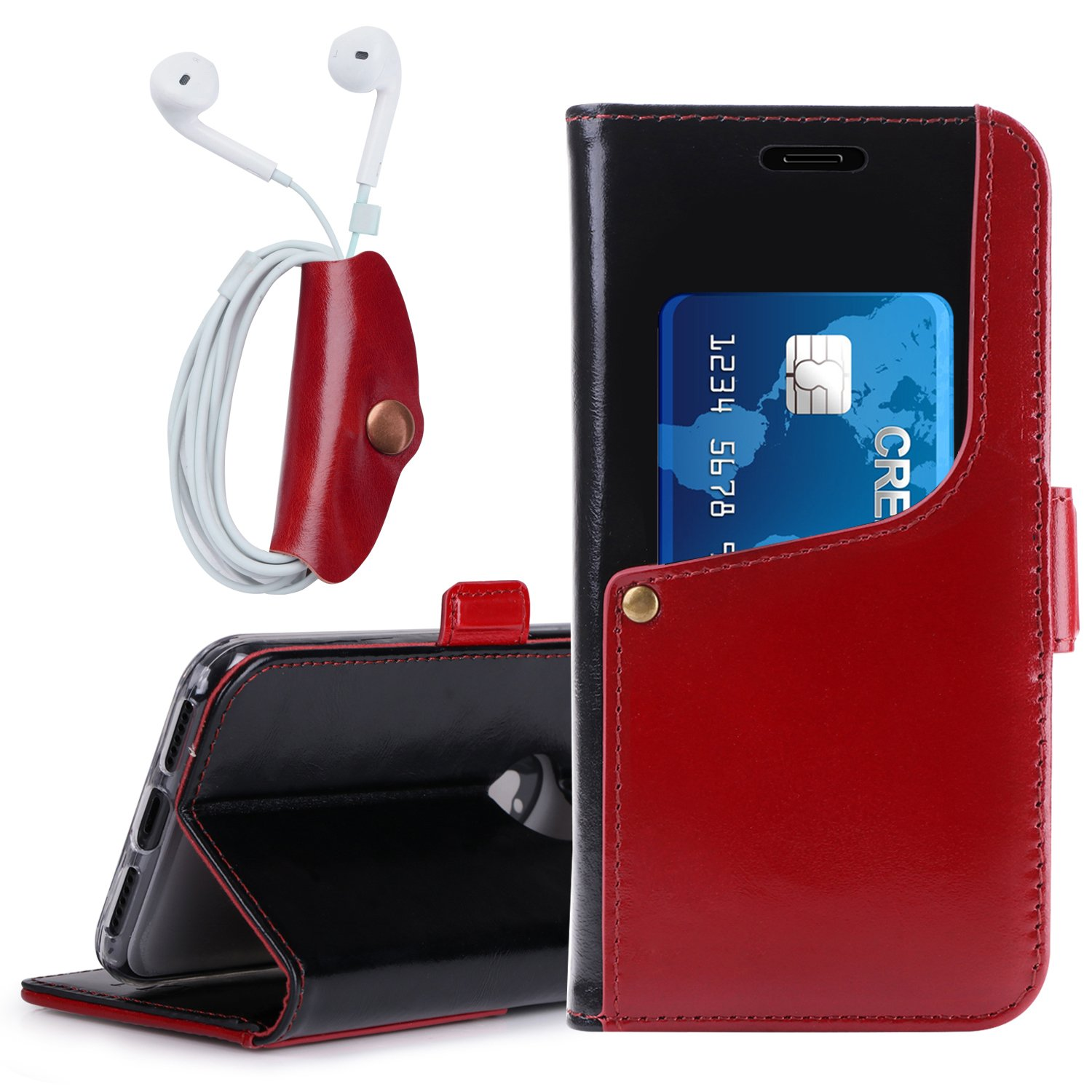 FYY Case for iPhone X, Luxurious Genuine Leather Wallet Case with Kickstand Function for iPhone X Black and Wine Red