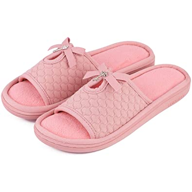 214a07cad9a LongBay Ladies s Memory Foam Slippers Open Toe Cute Bowknot Women s Comfort  Home Indoor Outdoor Shoes Pink