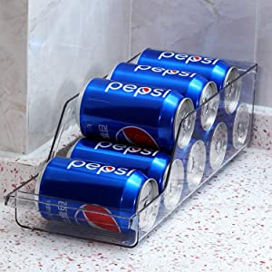 Raylix Plastic Refrigerator and Freezer Storage Organizer Bin Water Bottle and Drink Holder for Kitchen, Basement, Garage Fridge, BPA-Free, Clear