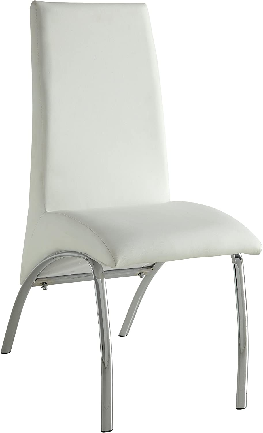 ACME Pervis White Faux Leather and Chrome Side Chair Set of 2