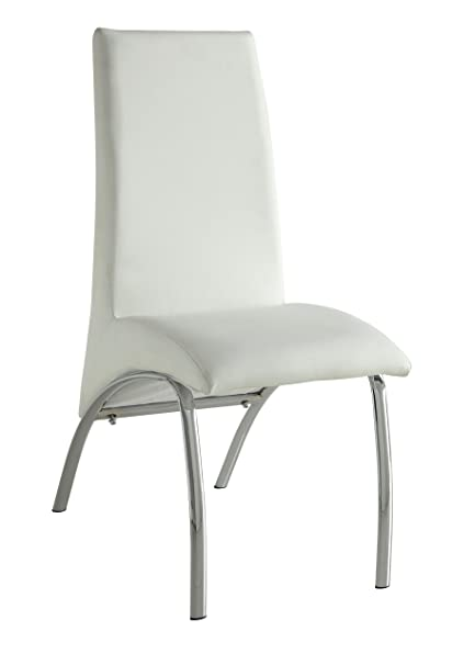 Acme Furniture ACME Pervis White Faux Leather And Chrome Side Chair Set Of 2