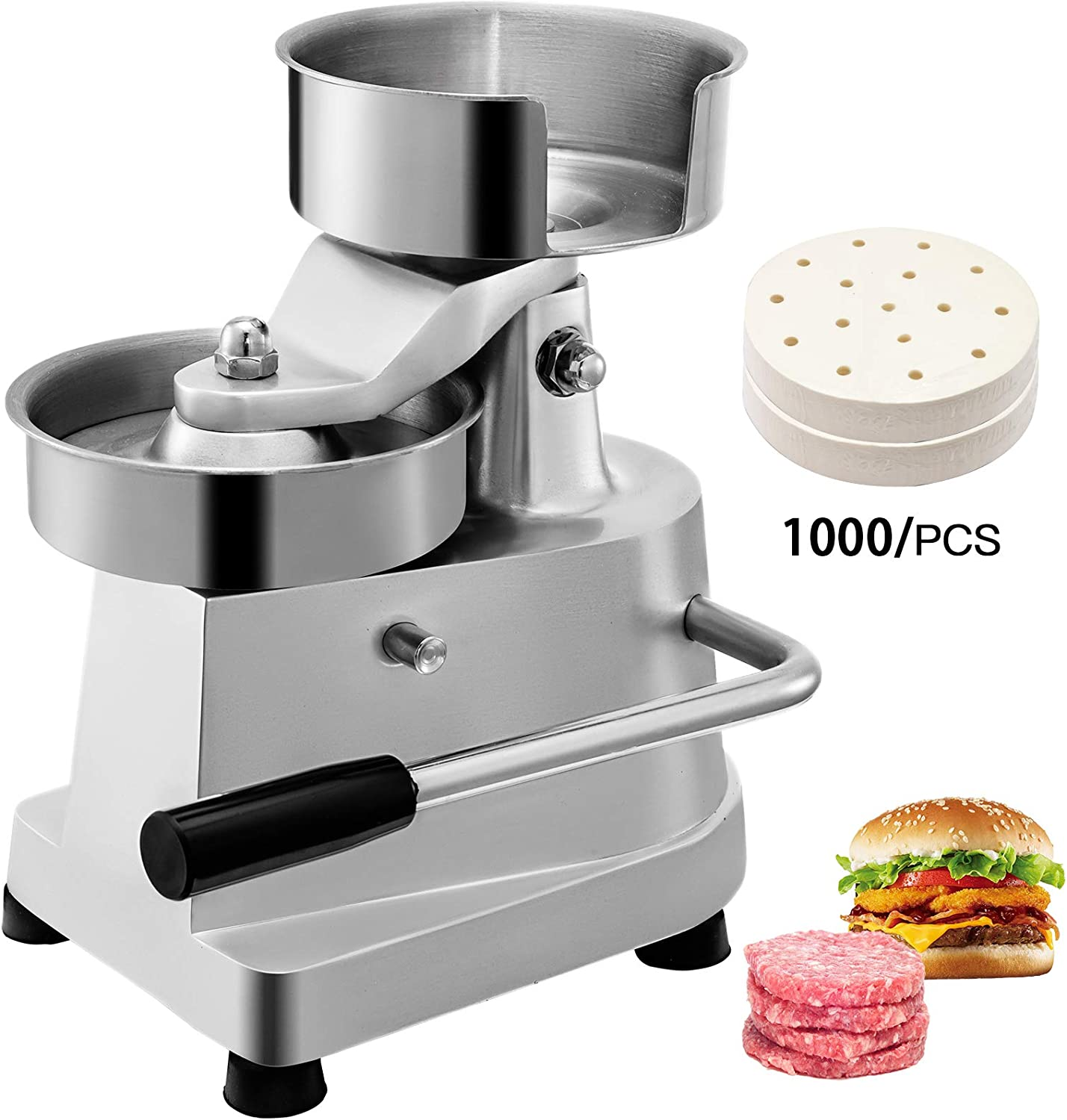 VBENLEM Commercial Hamburger Patty Maker 150mm/6inch Stainless Steel Burger Press Heavy Duty Beef Meat Forming Processor with 1000Pcs Papers, Sliver