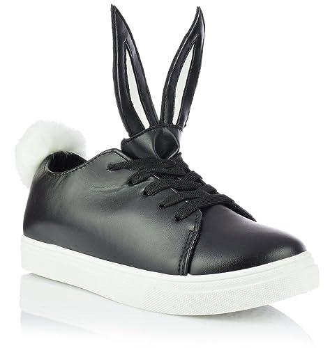 097cccc1f6fd Unbekannt Low-Top Sneaker mit Hasenohren und Bommel Damenschuhe  Freizeitschuhe Gr. 36-41
