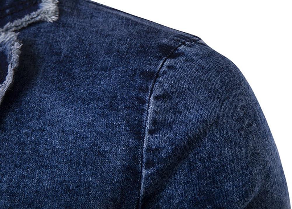 ZhuiKun Chaqueta de Traje Vaquera Americana Elegante Slim Fit Blazer para Hombre