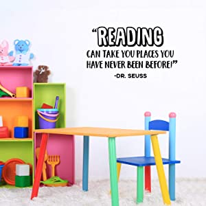 "Vinyl Wall Art Decal - Reading Can Take You Places You Have Never Been Before - Dr. Seuss - 17"" x 30"" - Modern Inspirational Cute Quote Sticker for Kids Room Playroom Daycare Classroom Decor"