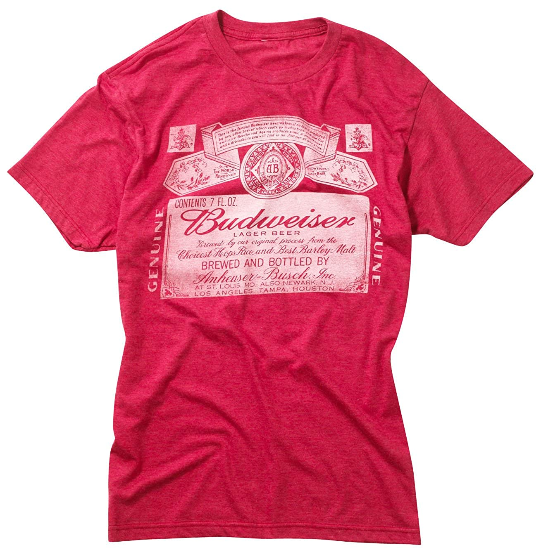 66f42f71 Budweiser Label T-Shirt | Amazon.com