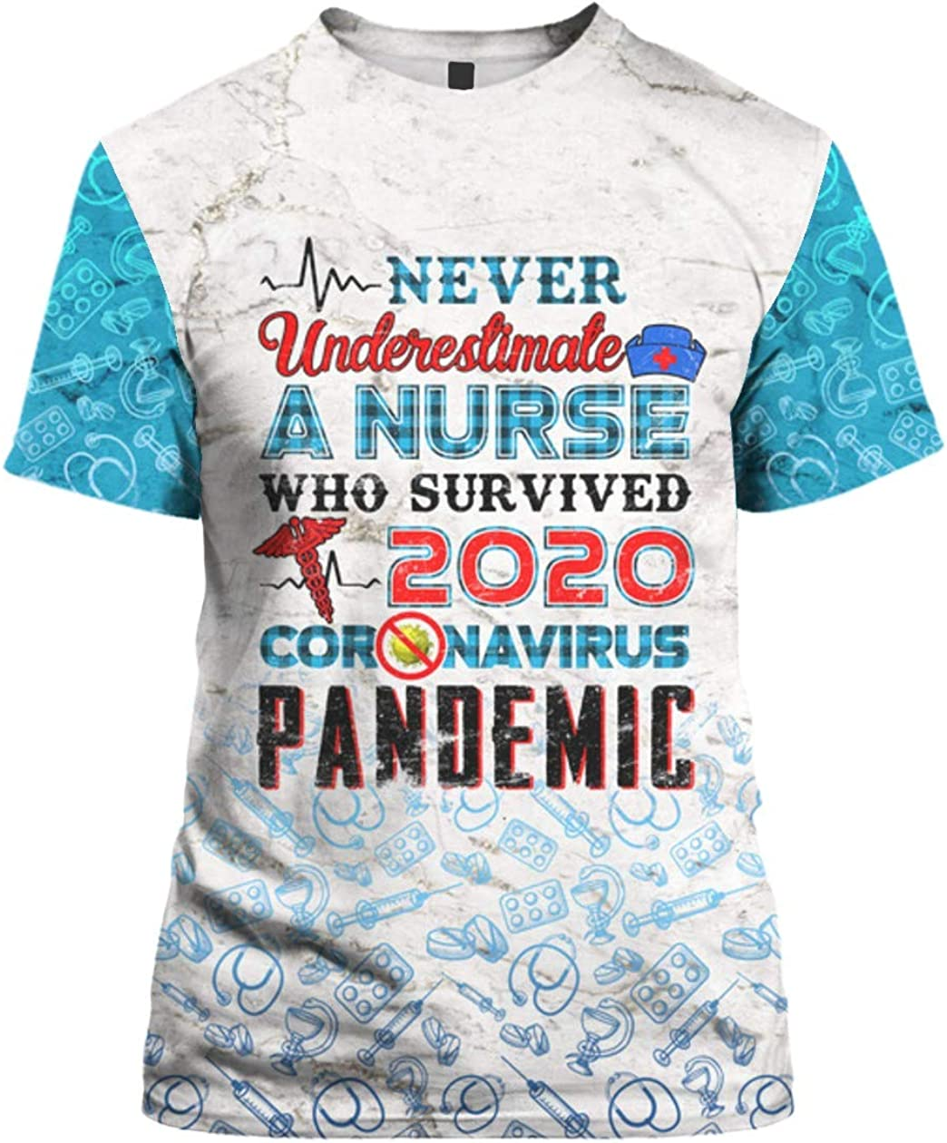 SMLBOO Never Underestimate A Nurse Who Survived 2020 3D All Over Sublimation Printed
