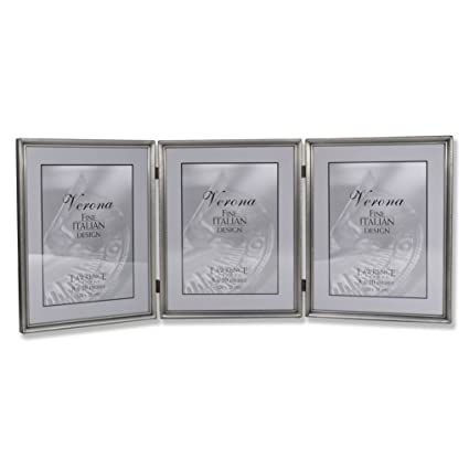 1757e6c54961 Image Unavailable. Image not available for. Color  Lawrence Frames 11580T  Brushed Pewter Bead Hinged Triple Picture Frame