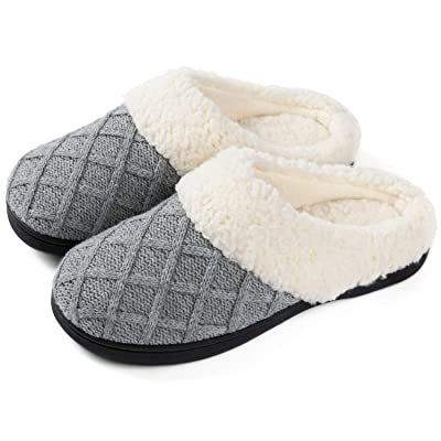 ULTRAIDEAS Women's Cozy Memory Foam Knit Slippers, Ladies' Slip on Mules House Shoes with Indoor Outdoor Anti-Skid Rubber Sole | Slippers