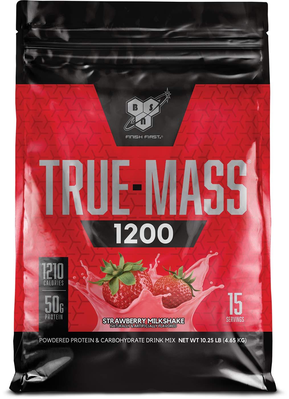 Strawberry 15 Servings TRUE-MASS 1200, Strawberry Milkshake, 10.38 Pound