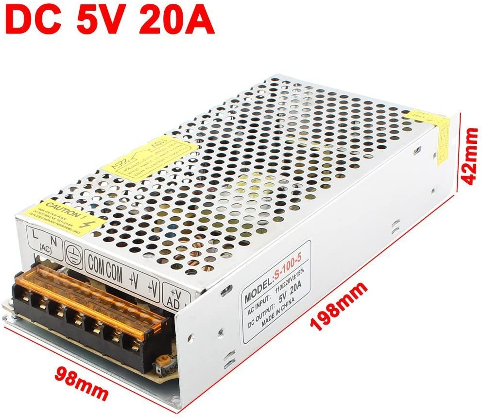 New AC100-240V to 5VDC 20A 100W DC Regulated Switching LED Power Supply