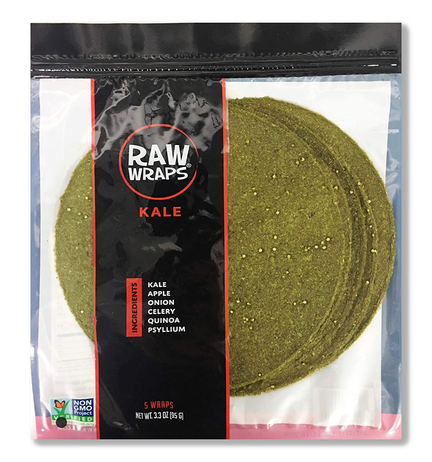 Raw Wraps, Gluten Free, Paleo, and Keto Friendly, Vegan, Non-GMO, Whole Food, Low Carb Tortilla Wraps, 5 Wraps per Bag, Kale Flavor