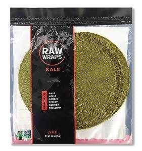 Raw Wraps, Gluten Free, Paleo, and Keto Friendly, Vegan, Non-GMO, Whole Food, Low Carb Tortilla Wraps, 5 Wraps per Bag, Kale Flavor