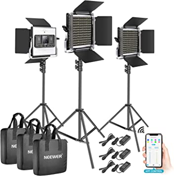 Dimmable Bi-Color Photography Lighting Kit with APP Intelligent Control System Professional for YouTube Studio Outdoor Video Lighting with LCD Screen 3200K-5600K Metal Neewer 528 LED Video Light