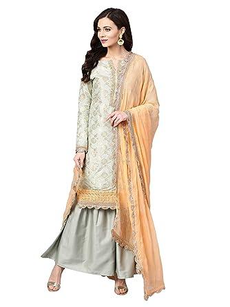 7609ffd6d5 AKHILAM Pure Dola Silk Jacquard Lehenga Choli (salwar suit sets for women  readymade 034_Grey_Free Size): Amazon.in: Clothing & Accessories
