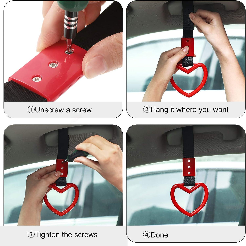 4PCS Heart-Shaped Car Hand Strap Ring,MoreChioce Car Rear Bumpler Warning Subway Train Bus Handle Strap Car Interior Exterior Decoration Accessories