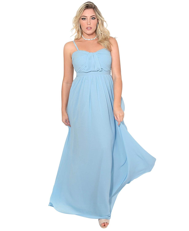 TALLA 42. KRISP Vestido Fiesta Largo Talla Grande Boda Elegante Plisado Noche Azul (2794) 42