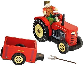 Bauernhof Traktor mit Anhänger Trecker Biegepuppen Holztraktor Holzauto Fahrzeuge