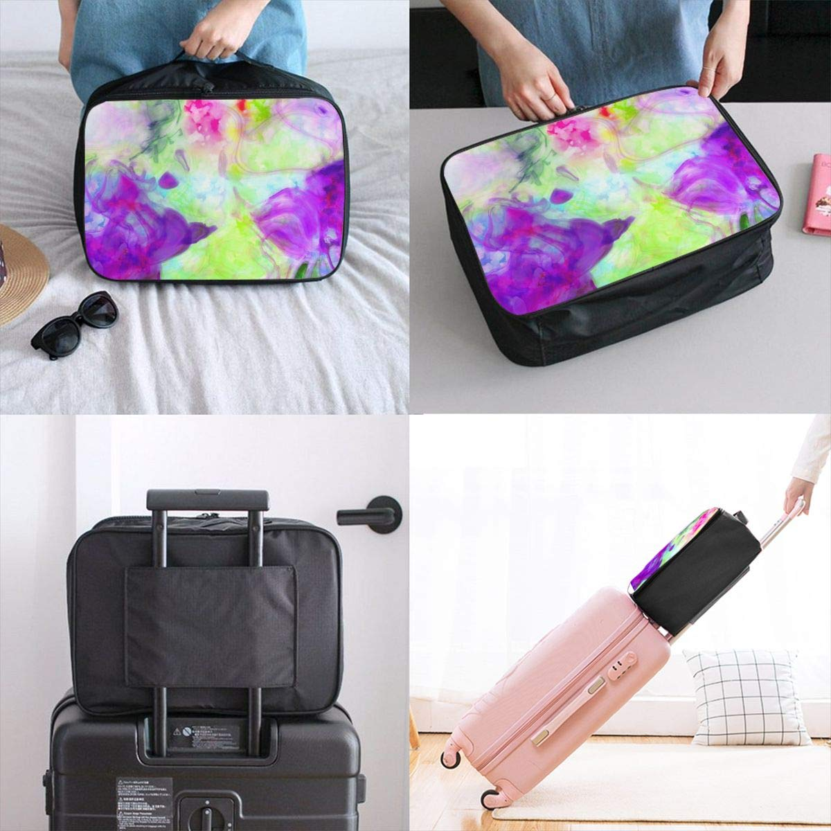 Fluid Texture Watercolor Travel Lightweight Waterproof Foldable Storage Carry Luggage Large Capacity Portable Luggage Bag Duffel Bag