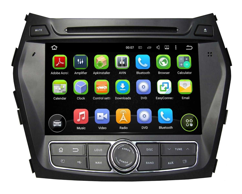 8インチAndroid 5.1 Lollipop Car DVD Player for Hyundai Santa Fe / ix45 2013 2014 2015 2016、Quad Core 1.6 G CPU 16 Gフラッシュ1024 x 600静電容量式タッチスクリーンGPSナビゲーションラジオ B07238P1HF