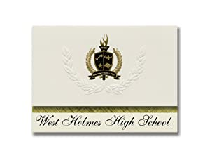Signature Announcements West Holmes High School (Millersburg, OH) Graduation Announcements, Presidential style, Elite package of 25 with Gold & Black Metallic Foil seal