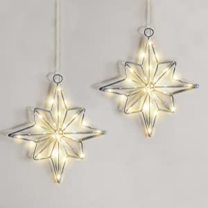 Christmas Star Lights Outdoor - Set of 2, Battery Operated, 8 Inch Tall, Indoor / Outdoor, 6 Hour Timer Feature, Silver with Warm White LED Lights, Hanging Holiday Window Decorations