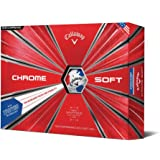 Callaway Golf 2018 Chrome Soft Truvis Graphene Dual SoftFast Core Golf Balls 1 Dozen White/Red/Blue