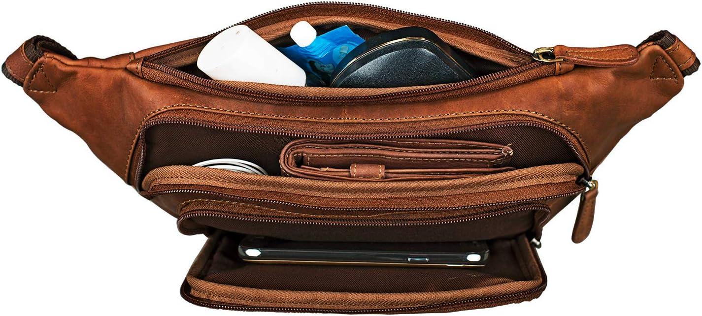 Colour:Cognac-Brown STILORD Luke Bumbag Leather Vintage Unisex Waist Bag Belt Bag for Women Men Journey Festival Smartphone Pouch Bag in Genuine Buffalo Leather
