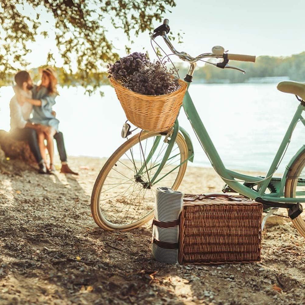 Amiispe Cesta de Mimbre para Bicicleta Cesta de Mimbre marr/ón Hecha a Mano para Bicicleta Rueda Delantera Uso Universal con Hebillas