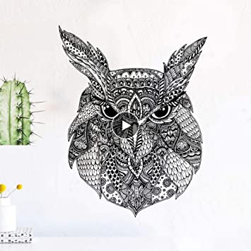 Amazon Com Wall Stickers Murals Owl Art Sticker Modern Nordic Black And White Home Decor Accessories Animal Doodle For Kids Rooms Mural 40x50cm Baby