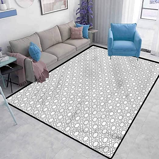 Amazon Com Moroccan Chair Mat For Carpet Monochrome Lines Star Home Decor Rugs For Christmas And Thanksgiving Cute Soft Children S Bedroom Rug W6 5 X L8 Feet Kitchen Dining