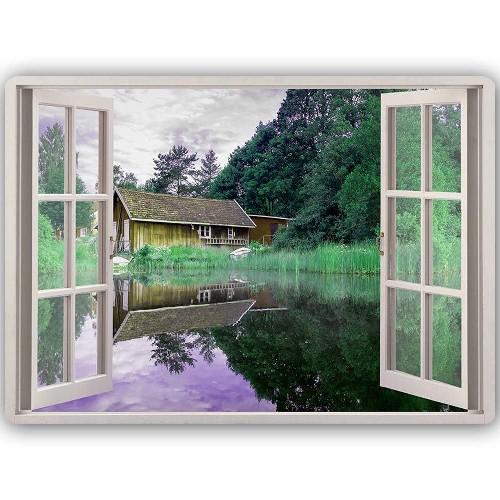 Metallbild Fensterblick Bild Kunstdrucke Poster Landschaft H/äuschen Gr/ün 30x20 cm