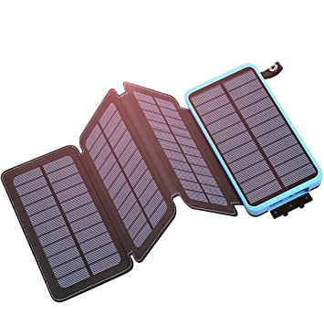 Hiluckey Cargador Solar 25000mAh, Portátil Power Bank con 2 USB 2.1A Output Impermeabl Batería Externa para Smartphone, iPhone, iPad, Samsung, ...