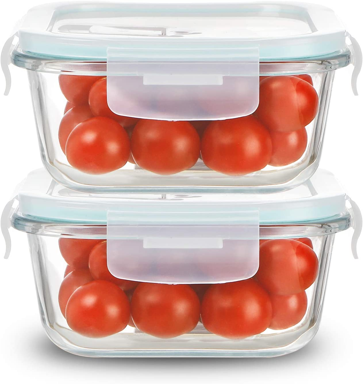 Sweejar 10 oz Glass Food Storage Containers Set with Lids(2 pack),Square Airtight Glass Meal Prep Containers,Lunch Box Containers,Freezer to Oven Safe