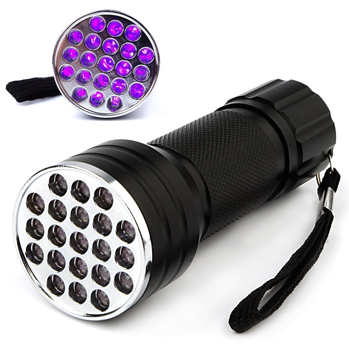 Portable 20+1 LED Flashlight Wide Beam Ultra-violet Light Detective Spy Tools Secret Sign Invisible Ink Money Checker Science Learning Discover Blacklight Dirt Strain Inspection Equipment FLA42