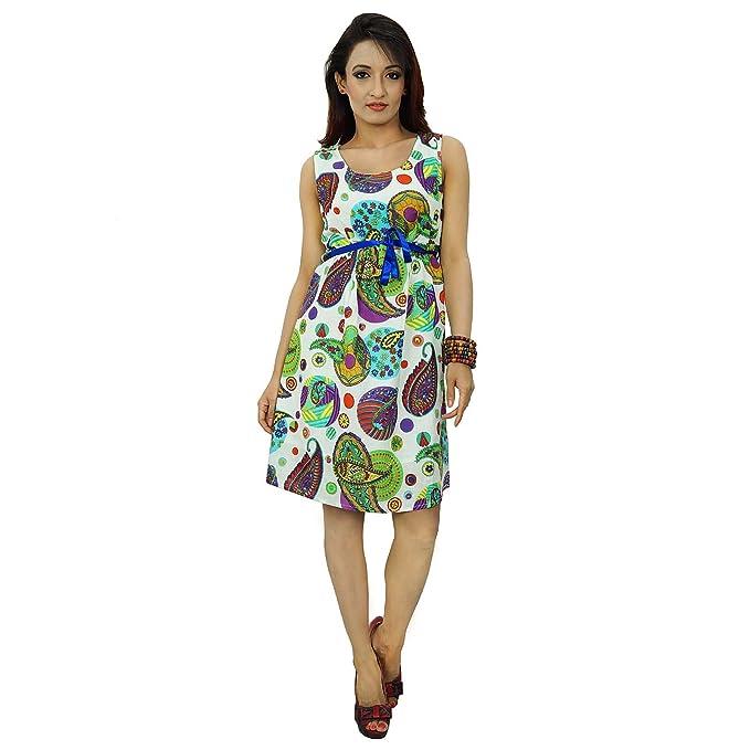 Las mujeres ropa de sport Vestido estampado cortocircuito de la playa del algodón del verano Vestido de tirantes: Amazon.es: Ropa y accesorios