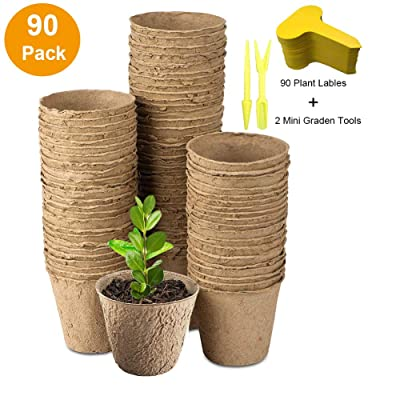 "3"" Peat Pots Seedling & Herb Seed Starter Pots Kit Plant Starters Recycled Paper Planting 100% Biodegradable and ECO Friendly No Transplant Shock with Free Plant Labels & Garden Tool 90 Pack : Garden & Outdoor"