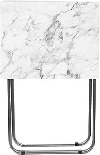 Home Basics Multi Purpose Folding TV Tray Table (White Marble)