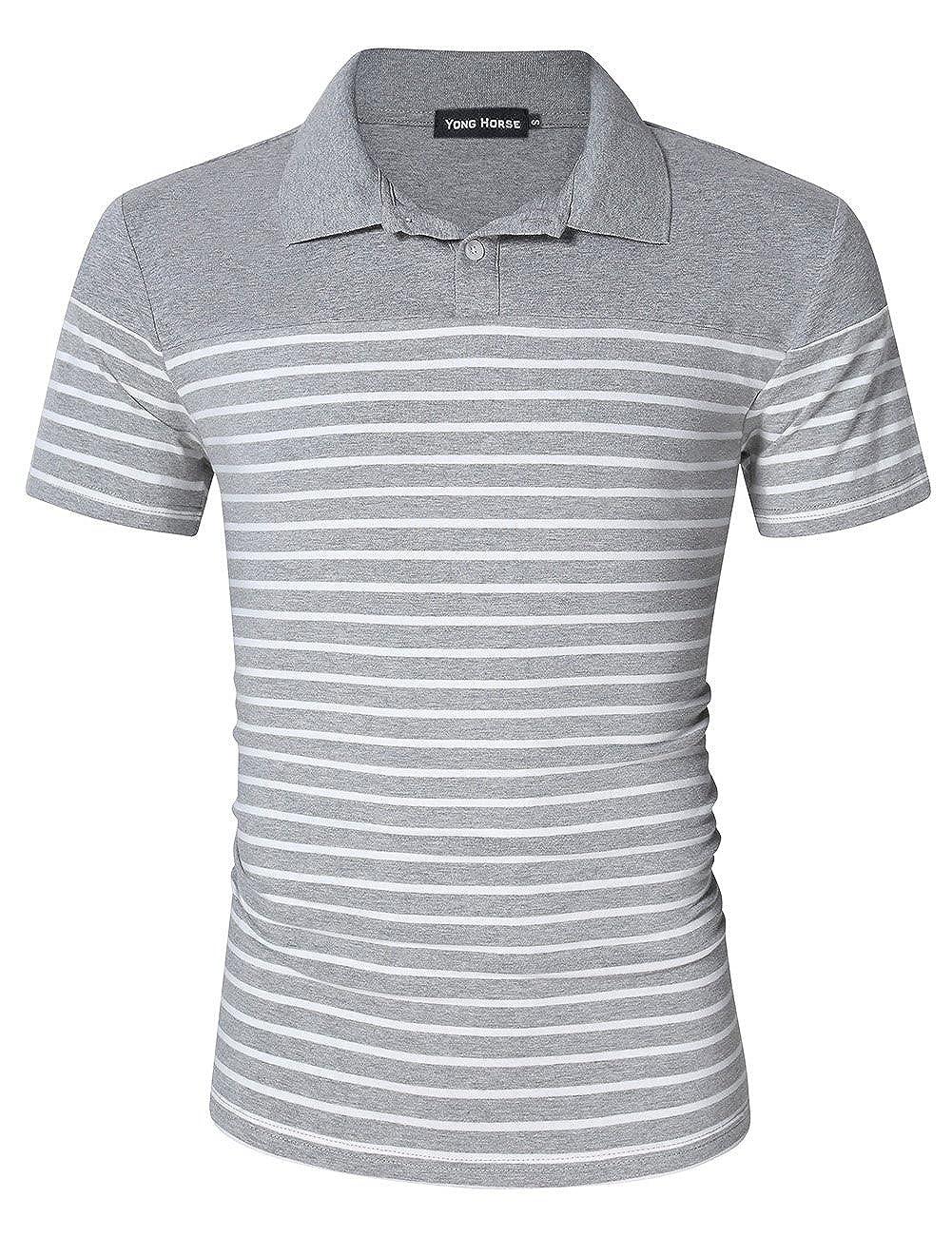 Yong Horse Mens Polo Shirts Casual Button Cotton Long//Short Sleeve T-Shirt