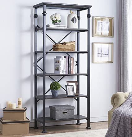 Ou0026K Furniture 6 Tier Open Back Bookshelf, Industrial Style Bookcases  Furniture Decor For Home
