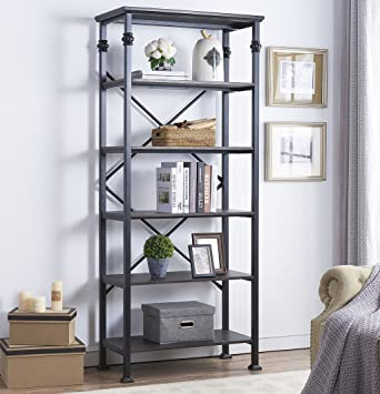 OK Furniture 6 Tier Open Back Bookshelf Industrial Style Bookcases Decor Home Office