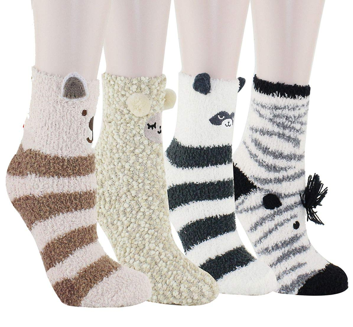 Happypop Women Girls Slipper Socks Cute Animals Fuzzy Crew Winter Warm Socks Thermal Socks 4 Pack
