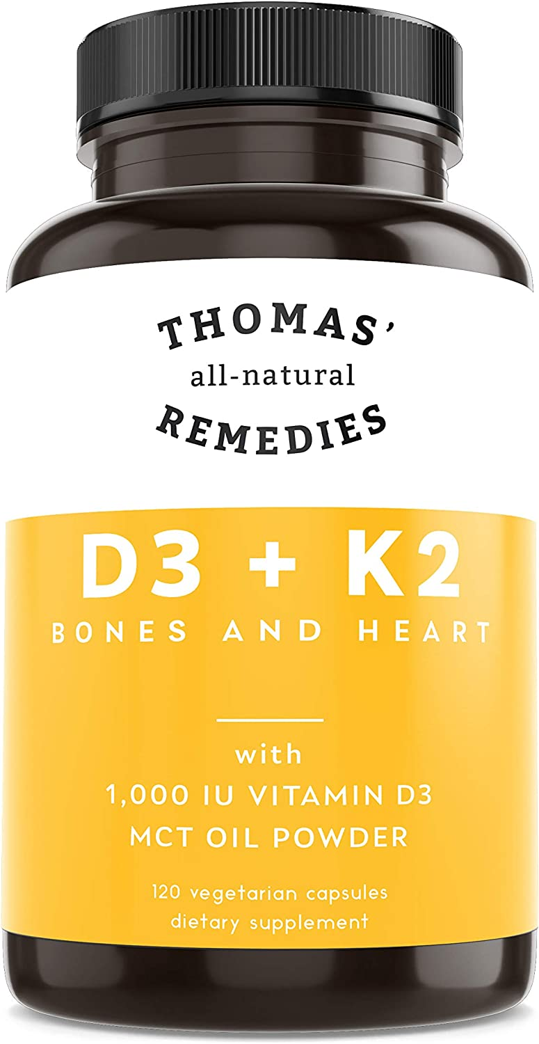 Thomas' all-natural Remedies D3 + K2 with MCT Oil for Better Absorption - 1000 IU D3 - Vegan - Made in USA - Support for Your Heart, Bones & Teeth - Non-GMO - 120ct